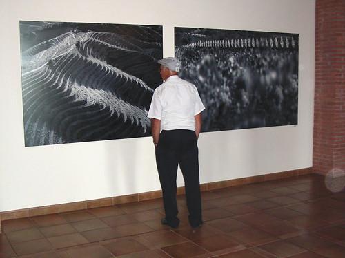 Mirant les fotografies del Centre de Visites Torres