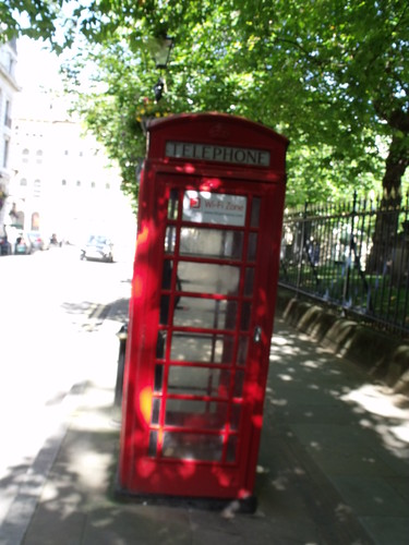 Red Phone box opposite the The Old Joint Stock - Temple Row West