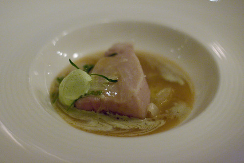 albacore tuna, onion and marrow broth, chervil cream