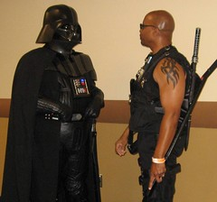 Vader and Blade Talk Shop (MorpheusBlade) Tags: starwars costume cosplay darthvader comicon sith daywalker pittsburghcomicon bladetheseries bladehouseofchthon pittsburghcomicon2009 monroevilleconventioncenter