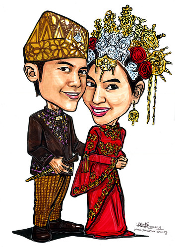 Malay traditional wedding couple caricatures - A - A4