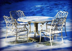 table for Four (Tattooed JJ) Tags: blue snow newyork ice table pentax cove glen northshore jjp nassaucounty glencove k200d charirs
