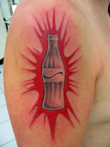Coca Cola by Olive Green - BPS tattoo. coca cola tattoo bottle