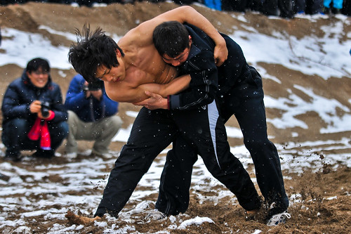 An amateur bout of Sireum, a traditional form of wrestling