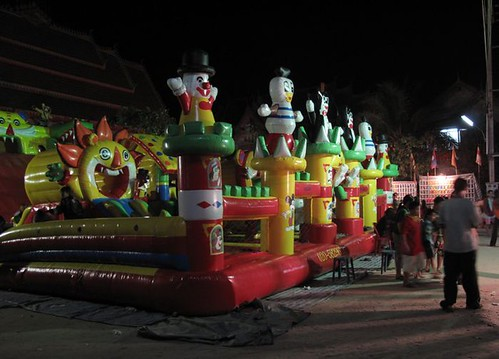 Bouncy castle at night