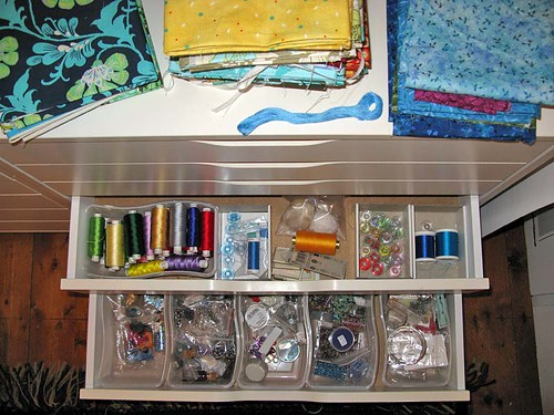 ikea drawer with sewing and beading supplies
