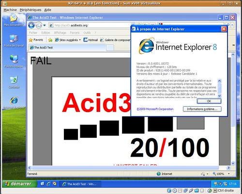 20 / 100 au test acid3 pour IE8