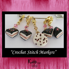 Cakes pieces and Donut Crochet Stitch Markers
