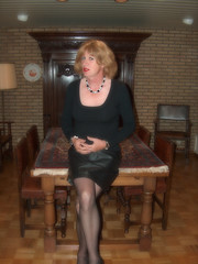HPIM4448 (cindy richardson) Tags: black stockings leather tv top cd skirt tgirl transgender crossdress gurl stilettos glamorous