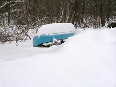 canoe under snow