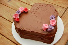 heart shaped cake with flowers