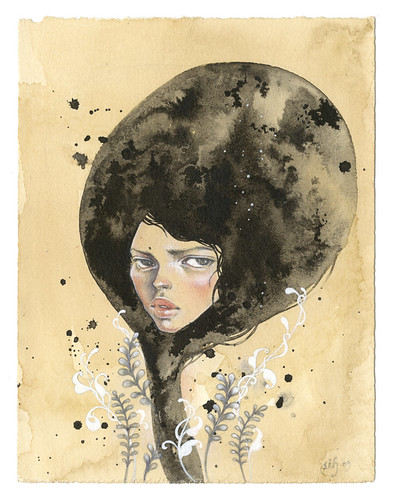 "Ennui. 6""x8"". Ink, Graphite, Watercolor wash on Tea-Stained Paper. ©2009"