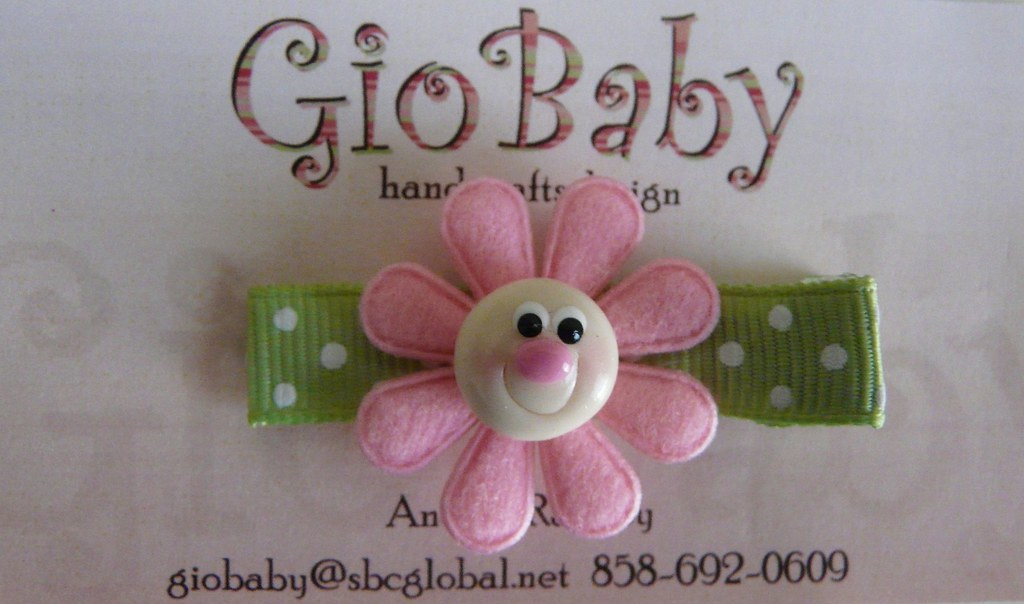 Giobaby Pink on Green Happy Flower Hair Clips