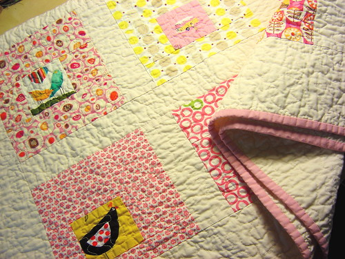 Square in Square Baby Girl Quilt