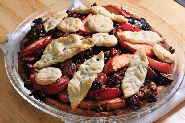 apple, plum, oatmeal with trail mix pie, whole
