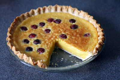Lemon Chess Pie with Sour Cherries