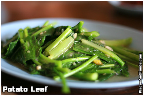 The potato leaf came first. Stir fried lightly with garlic, the potato ...