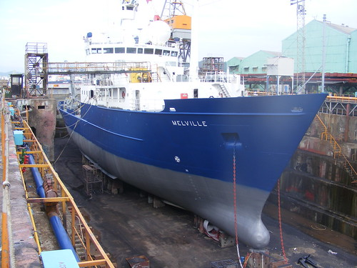 R/V Melville, drydocked in Keelung, Taiwan due to a lost propeller.