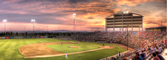 Dust Devil Panorama (Philerooski) Tags: sunset sky people panorama cloud game mountains field clouds canon ball lights washington sitting baseball pano crowd cities explore ballgame devil salem volcanoes athletes players dust tri trak hdr stands richland trac kennewick pasco tricities kieser sunshield dustdevils a
