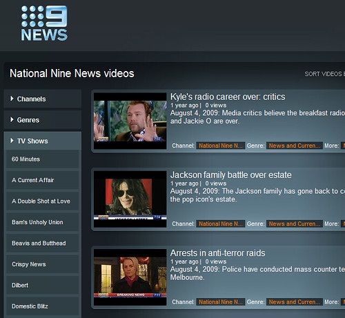 NineMSN video web site