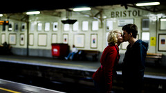 BRISTOL (Diana Pappas) Tags: uk greatbritain red england bristol kiss couple dramatic trainstation lucky cinematic smooch