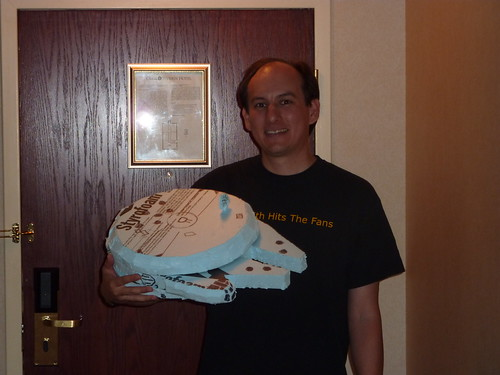James crafts a Millennium Falcon out of foam.