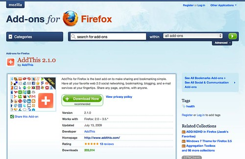 AddThis Firefox Add-on Passes 200k Downloads - AddThis