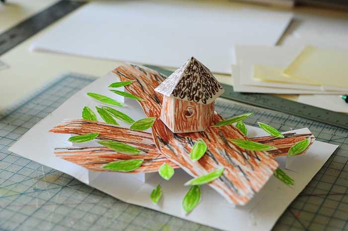 birdhouse pop-up card prototype 1