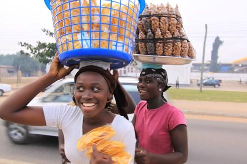 Street vendors in Accra.