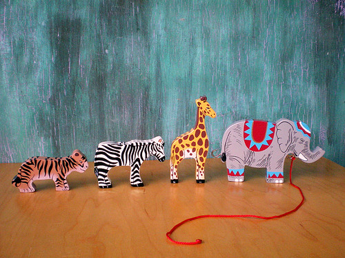 Circus Train Wooden Painted Animals