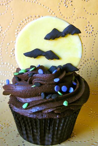 moon and bats halloween fondant edible cupcake topper