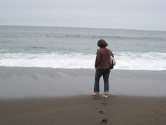 Carleen bravely approaches the Pacific . . . (ccalcaterra) Tags: california rodeobeach geyserville