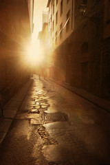 Rome, Italy (ilina s) Tags: street houses sunset italy sunlight rome monochrome sepia canon buildings pavement rays cracks 30d