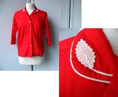 1950s Bobbie Brooks cherry red leaf applique blouse (Small Earth Vintage) Tags: shirt vintage leaf clothing women blouse cotton 1950s 50s applique cherryred sanforized bobbiebrooks smallearthvintage