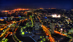 Yokohama Burns Red (Sprengben [why not get a friend]) Tags: world china city roof wedding summer sky music newyork paris art japan skyline clouds skyscraper observation hongkong japanese tokyo bay harbor amazing rainbow nikon shinjuku asia ship artistic time gorgeous awesome watch hamburg elevator style symmetry divine international stunning tokyotower metropolis yokohama charming foreign fabulous dach hdr landmarktower linear englandlondon engaging travelphotography d90 keiouniversity photomatix shibuja travellight d3s nationalgovernmentbuilding sprengbenurban terjesrgjerd tsophotography
