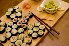Latenight Sushi (studio martin lussier) Tags: food calgary sushi avocado ginger maki shrimp alberta japanesecucumber photobymartinlussier
