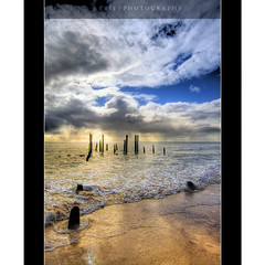 Size Matters in Erections :: HDR (:: Artie | Photography ::) Tags: sunset sea sky reflection beach water clouds photoshop canon dark sand rocks cs2 tripod australia wideangle shore adelaide poles bec 1020mm southaustralia remains hdr foreshore oldjetty artie erections 3xp sigmalens