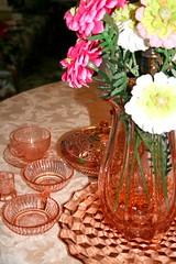 Collection of pink glassware (DianthusMoon) Tags: vase candyjar cupandsaucer depressionglass pinkglass