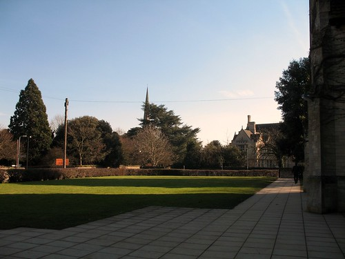 Looking at St Peters Church and the Great Hall from the maths building