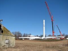 blades mounted to hub, almost ready to rock and roll (B42) Tags: windmills rhodeisland windturbine wtg portsmouthri 02871 windturbinegenerator aaer pedc