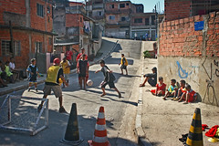 Spaces and places... (carf) Tags: poverty girls boy brazil game boys girl brasil kids children hope football kid community education support child play hummingbird sopaulo soccer esperana s