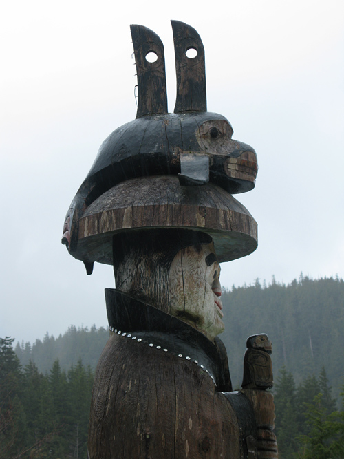 rain on a totem at Cape Fox Lodge, Ketchikan, Alaska