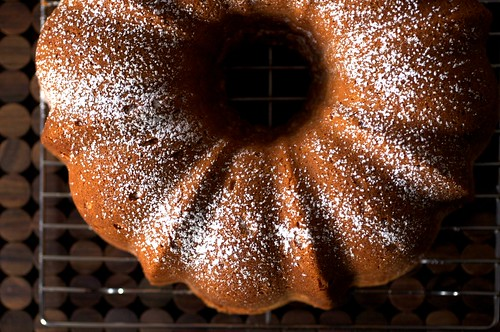 cream cheese pound cake, dusted