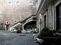 Inner Courtyard with Artifacts (hdlions) Tags: castle norman sicily catania castelloursino