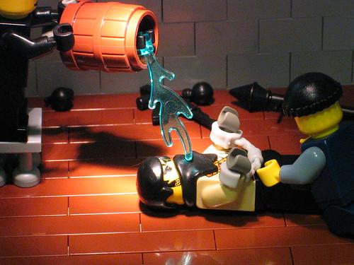 Waterboarding Lego minifigs