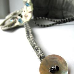 Rochester fastening button detail (fancypicnic) Tags: white necklace silk etsy applique choker textileart silvergrey fabricjewellery weddingjewellery textilejewellery