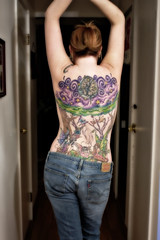 Me 85/365 (Kerrie Lynn Photography (Sugaree_GD)) Tags: trees woman selfportrait tattoo female back purple inprogress swirls fairies piece faeries tattooed heavily 365days midnightblack staceysharp 85365 twitter365 sugareegd keirwells