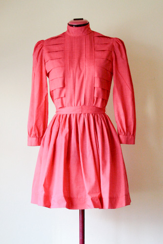 VINTAGE tomato pink cotton dress S - 1