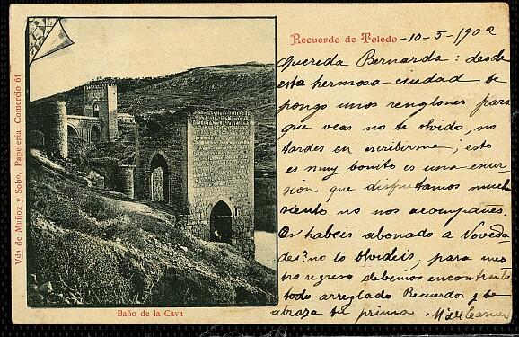 Baño de la Cava (Toledo) a principios del siglo XX. Viuda Muñoz