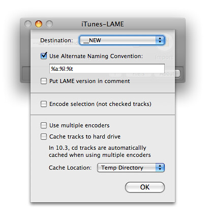 iTunes LAME preferences